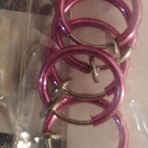 5Pink Stainless Hoops: Ear,Nose,Eyebrow